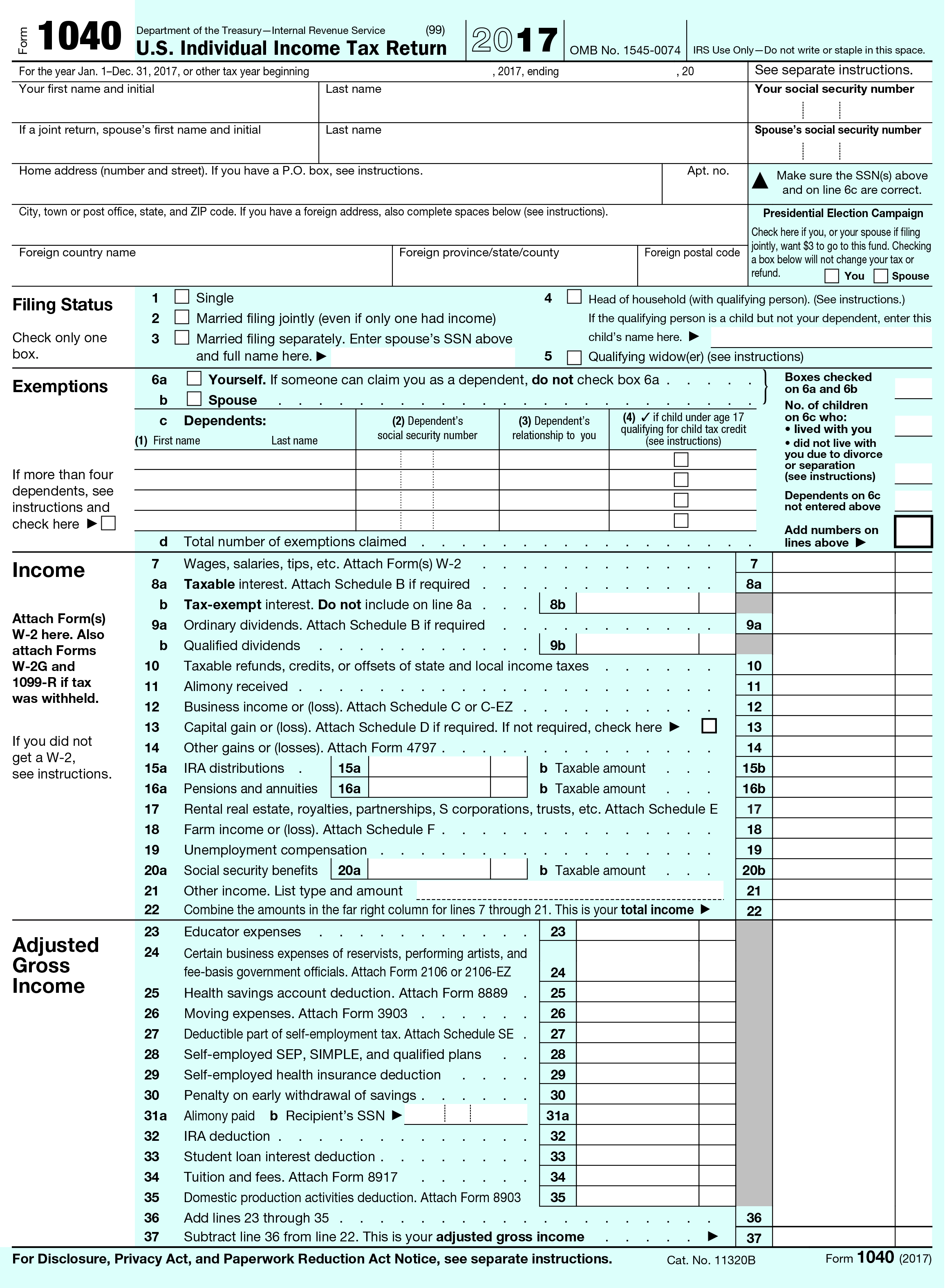 1040 Form 2017 Page 2 >> Tax Changes By Form Taxchanges Us